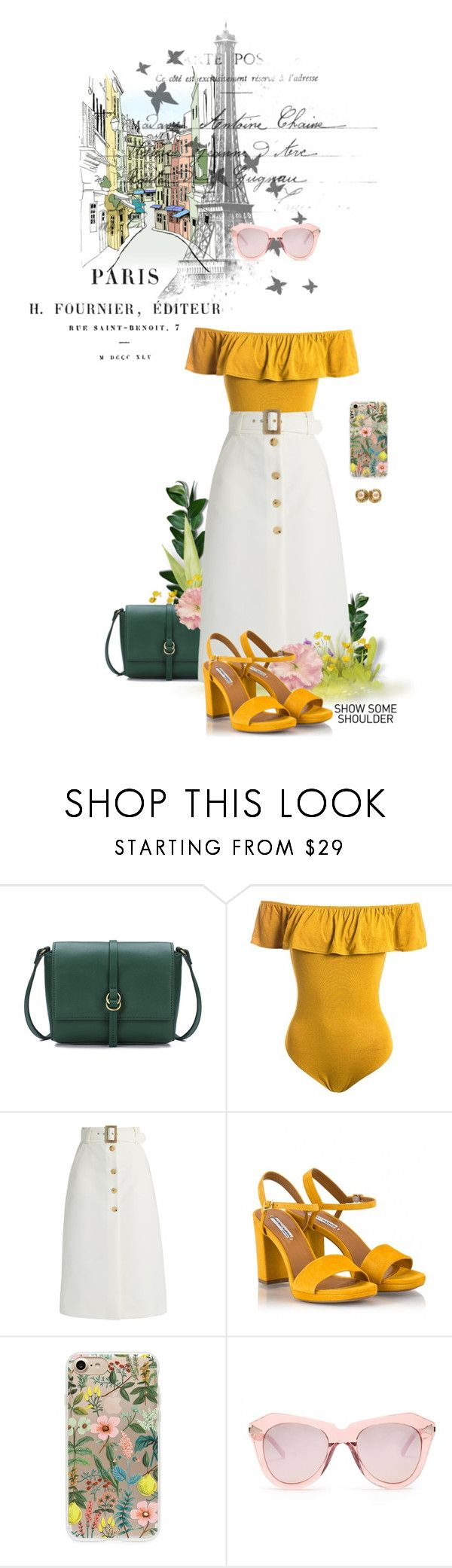 """""""With Luv From Paris"""" by tophercouture ❤ liked on Polyvore featuring Sans Souci, Bella Freud, Fratelli Karida, Rifle Paper Co, Karen Walker, Chanel, travel, mustard, TopHerCouture and shouldershrug"""