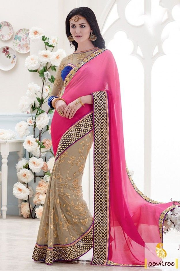 Turn on your charm for everyone with beautiful pink chikoo silk velvet ethnic wear saree for bride online shopping. Purchase adorable modern party wear sarees for girls at attractive price range. #saree, #designersaree more: http://www.pavitraa.in/store/chiffon-salwar-suits/