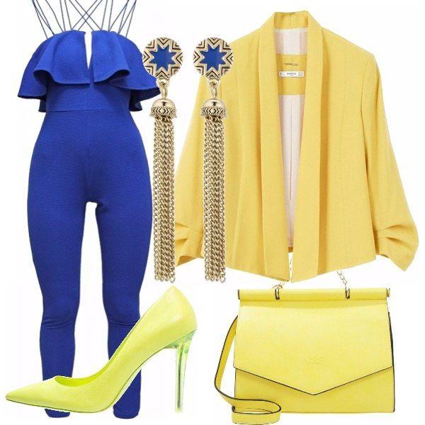 Un outfit, dai toni del blu elettrico e giallo limone, per serate eleganti, e casual, cosi sarete chic senza passare inosservate, i colori adatti alla prossima estate 2016!