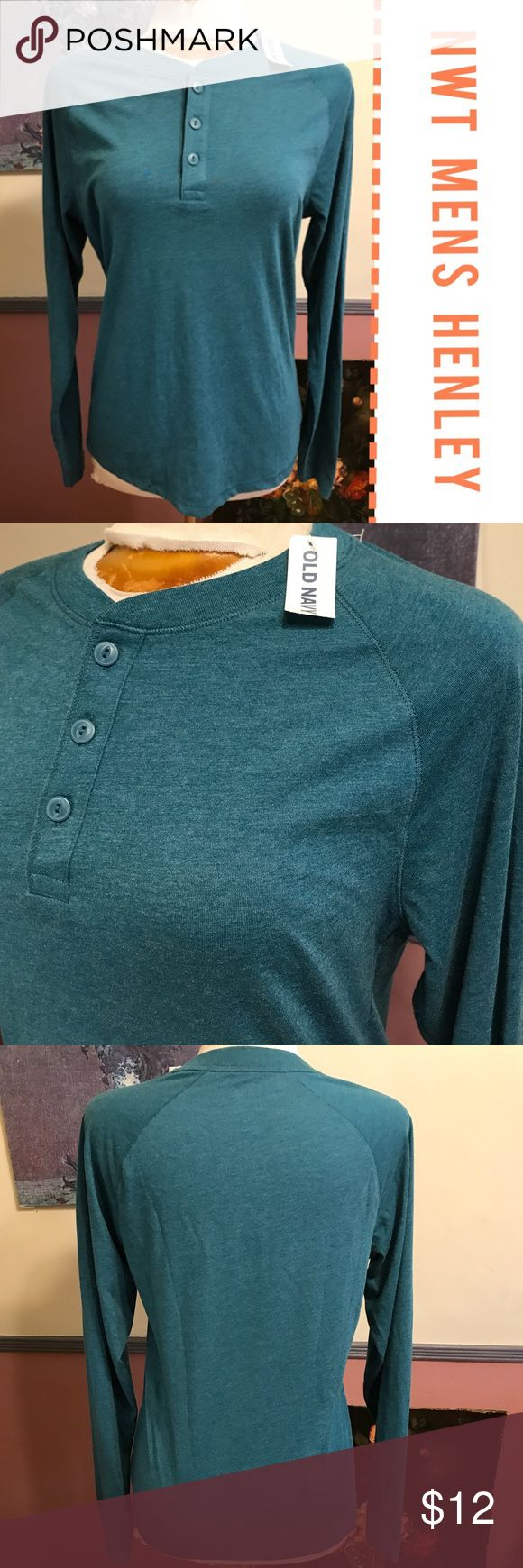 🥒SALE🥒 Men's Teal Long Sleeve Henley Great base layer for your guy in a very pretty blue-green / Teal color. Brand new because the sleeves were too long on my partner and I forgot to return it! Size small Old Navy Shirts Tees - Long Sleeve
