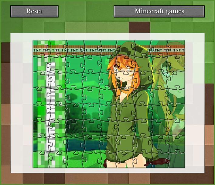 Recoger de puzzle rompecabezas 3D con una chica de la enredadera del popular juego Minecraft