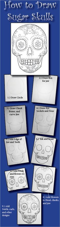 How to Draw Sugar Skulls, a drawing tutorial for kids and adults