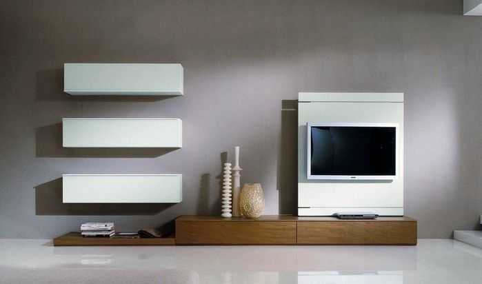 meuble télé de design minimaliste en blanc