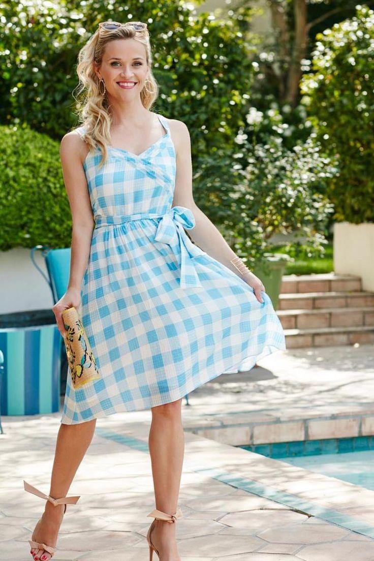 Reese Witherspoon wearing Alexandre Birman Clarita Heels, Draper James Straw Lemon-Eva-Bag and Draper James Gingham-St-Simons-Dress