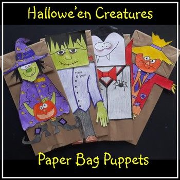 Four new great puppets for Hallowe'en fun! What is included: - 4 creatures (witch, dracula, Frankenstein, scarecrow) - a simple writing activity has been prepared which can be placed on the back of each creature (grade 1 or 2 or 3) JK and K can just make the paper
