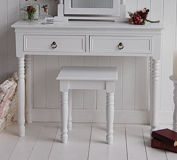 White dressing table stool for the New England dressing tables