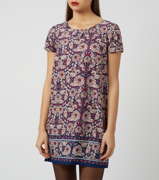 £7.00 New Look Pink Paisley Print Short Sleeve Tunic Dress