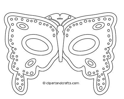 Butterfly mask template or coloring craft sheet