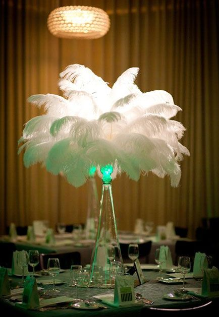 Non flower Gatsby/Art Deco theme - White Ostrich Feather Centrepieces