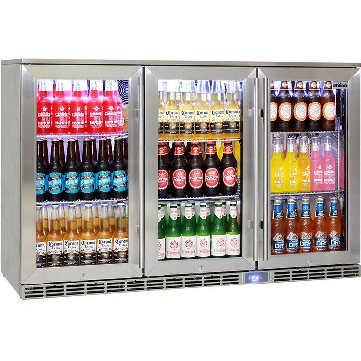 Rhino Glass 3 Door Alfresco Outdoor Bar Fridge All Stainless Energy Efficient Alfresco 330L