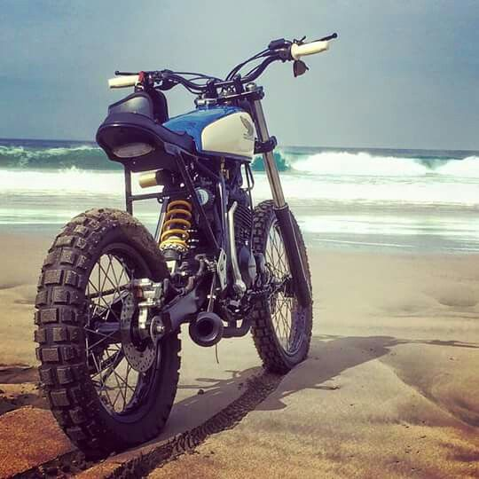 Scrambler by the beach