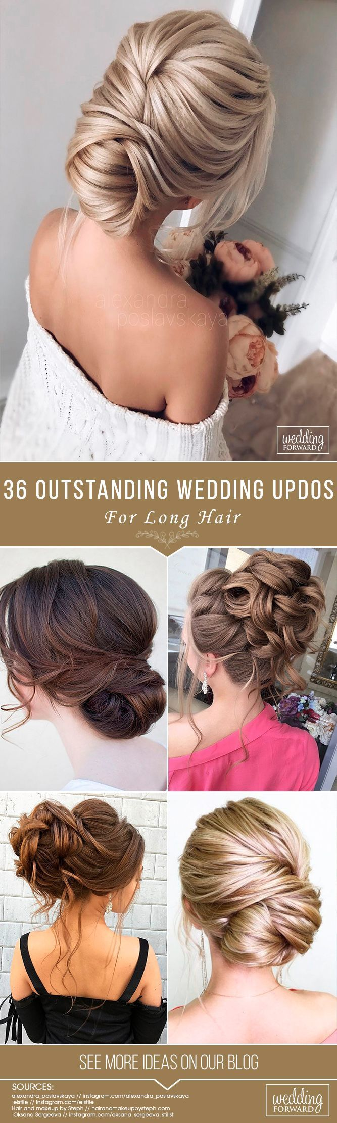 36 Most Outstanding Wedding Updos For Long Hair ❤️ We have collected the most outstanding wedding updos for long hair. Opt the best variant for your inspiration! Be trendy on your wedding! See more: http://www.weddingforward.com/wedding-updos-for-long-hair/ #weddings #hairstyles