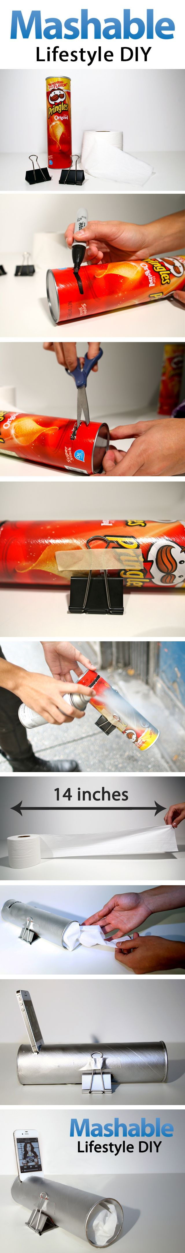 Create your own amplifying phone speaker out of a Pringles can!