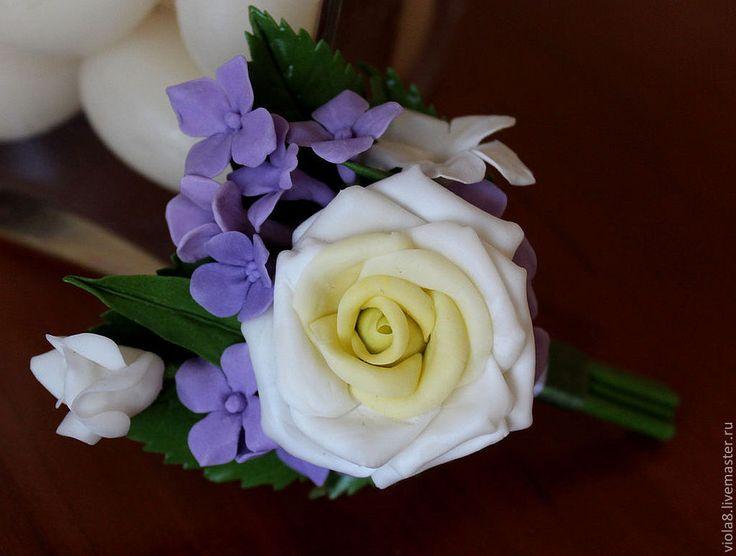 Купить Брошь бутоньерка для жениха-брошь мужск на свадьбу розами и гортензией - бутоньерка, брошь