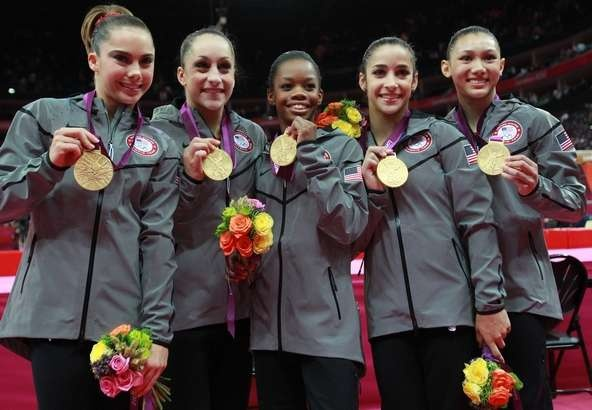 Mc Kayla Maroney, Jordyn Wieber, Gabrielle Douglas, Alexandra Raisman and Kyla Ross of the United States celebrate after winning the gold medal in the Artistic Gymnastics Women's Team final on Day 4 of the London 2012 Olympic Games at North Greenwich Arena on July 31, 2012 in London, England.