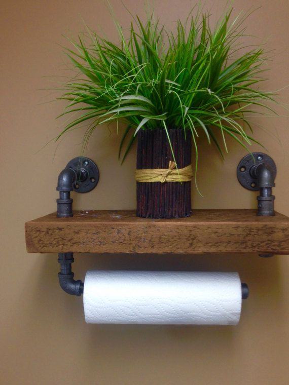 Paper Towel Holder / Rustic Look / Recliamed by TheVillageCrafts