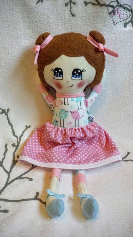 Poupée de tissu poupée de chiffon poupée visage par AccrocheCoeur