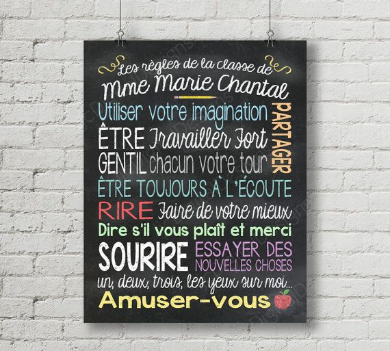 French Francais Custom Personalized Classroom by ljcDigitalDesigns