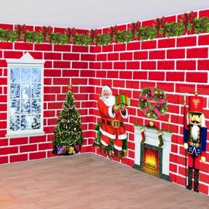 Traditional Red Brick Scene Setter - Scene Setters - Decorations - Christmas