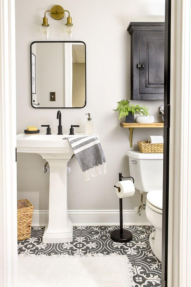 Vintage Chic Half Bathroom Updates With Images Green Bathroom
