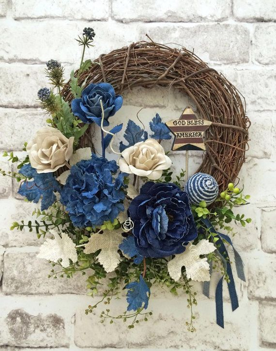 Denim Patriotic Wreath, Summer Wreath, Front Door Wreath, Grapevine Wreath, Etsy -  This beautiful denim patriotic wreath was handmade using a