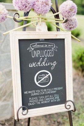 unplugged wedding ceremony sign: Maryland Springfield Manor wedding by Katelyn James Photography
