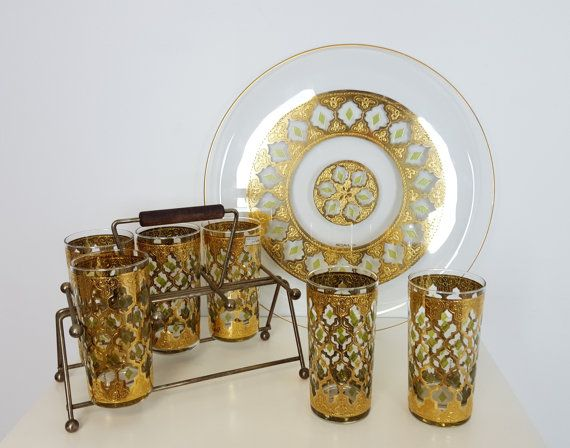 Set Of Mid Century Gold Green Cocktail Bar Glasses, Culver Valencia Gold  Tumblers Caddy Rack, Mid Century Modern Barware Set, Gold Decor By  CurioBoxx On ...