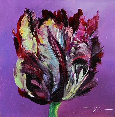 Olieverf Zwarte Papegaai tulp, maat 10 x 10 cm op Mus paneel te koop voor euro 60,00 + verzendkosten email mij vrijblijvend voor info