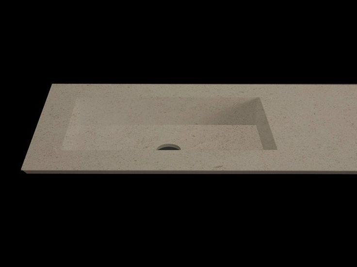Lavabo rettangolare con piano PLANO WB7 by RIFRA   RIFRA S.r.l.  Lesmo (MB) / Italia  FINITURE SPECIALI Finitura rovere grezzo +argilla; Cemento; Argilla
