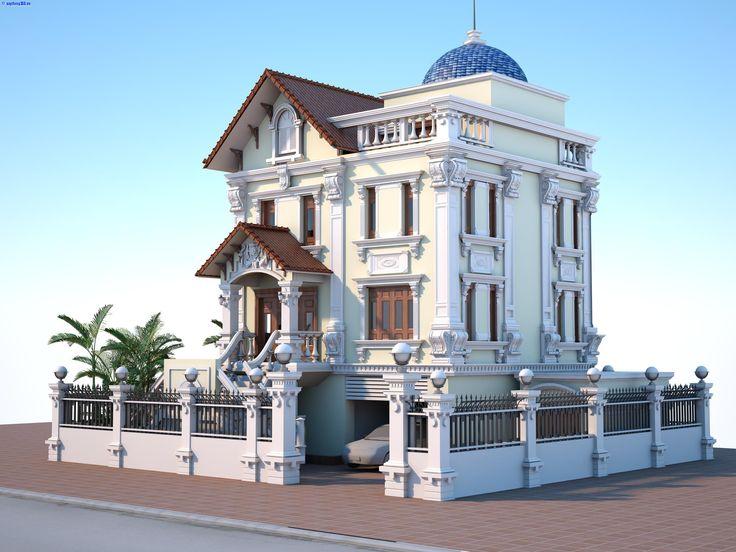 Biệt thự cổ điển 3 tầng đẹp| biệt thự cổ điển đẹp