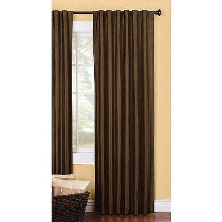 Better Homes and Gardens Solid Lined Faux Silk Window Panel, Brown