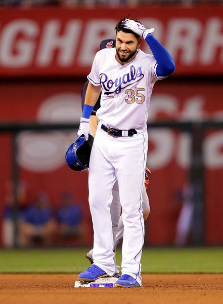 Eric Hosmer Photos Photos - Eric Hosmer #35 of the Kansas City Royals reacts after hitting a double during the 8th inning of the game against the Cleveland Indians at Kauffman Stadium on June 2, 2017 in Kansas City, Missouri. - Cleveland Indians v Kansas City Royals