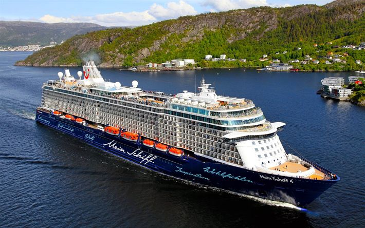 Download wallpapers Mein Schiff 4, cruise ship, port, TUI Cruises