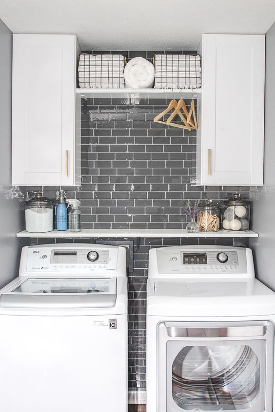 Laundry Room Update with Peel and Stick Tile Backsplash | Pinterest | Small laundry rooms Small laundry and Laundry rooms & Laundry Room Update with Peel and Stick Tile Backsplash | Pinterest ...