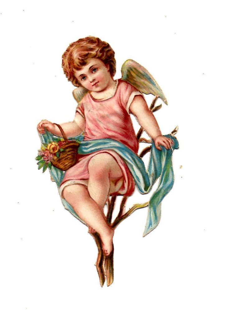 Alte Oblaten Glanzbilder Scraps Engel in den Zweigen 9cm 1890 ... de.picclick.com: