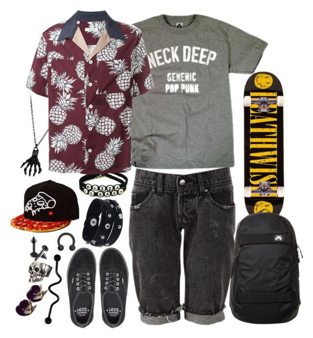 """""""monty - pizza bagels and flirtin'"""" by paramore-24 ❤ liked on Polyvore featuring Valentino, Vance Co., Vans, Deathwish, NIKE, men's fashion and menswear"""