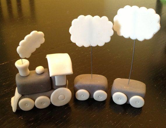 Fondant Train Topper with Mini Train Cupcake by AuntieCakeCakes, $60.00