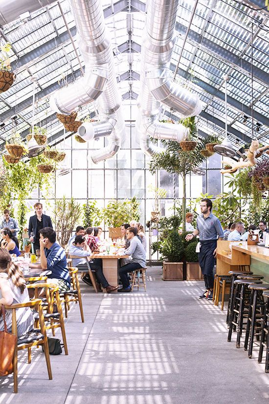 LA restaurant in The Line Hotel, greenhouse vibe - the greenhouse cafe would look like this.