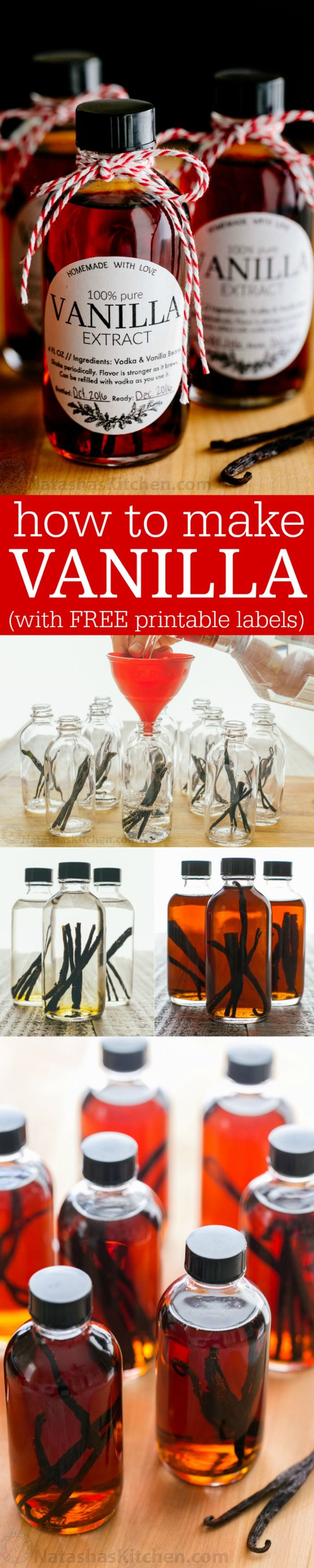Learn how to make vanilla extract with 2 ingredients! Homemade vanilla extract will be your secret ingredient for baking. The best vanilla extract recipe! | natashaskitchen.com (Minutes Cake)