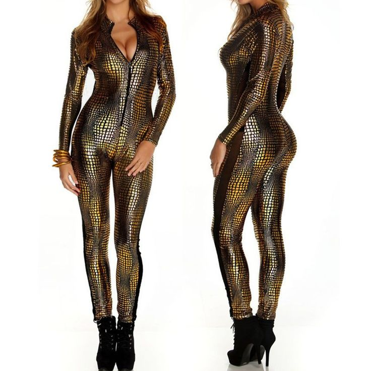 2016 European Sexy Faux Leather Snake Skin Jumpsuit Front Zip Long Sleeve 3 Color Bodysuit Spandex Catsuit Women Gold Jumpsuits