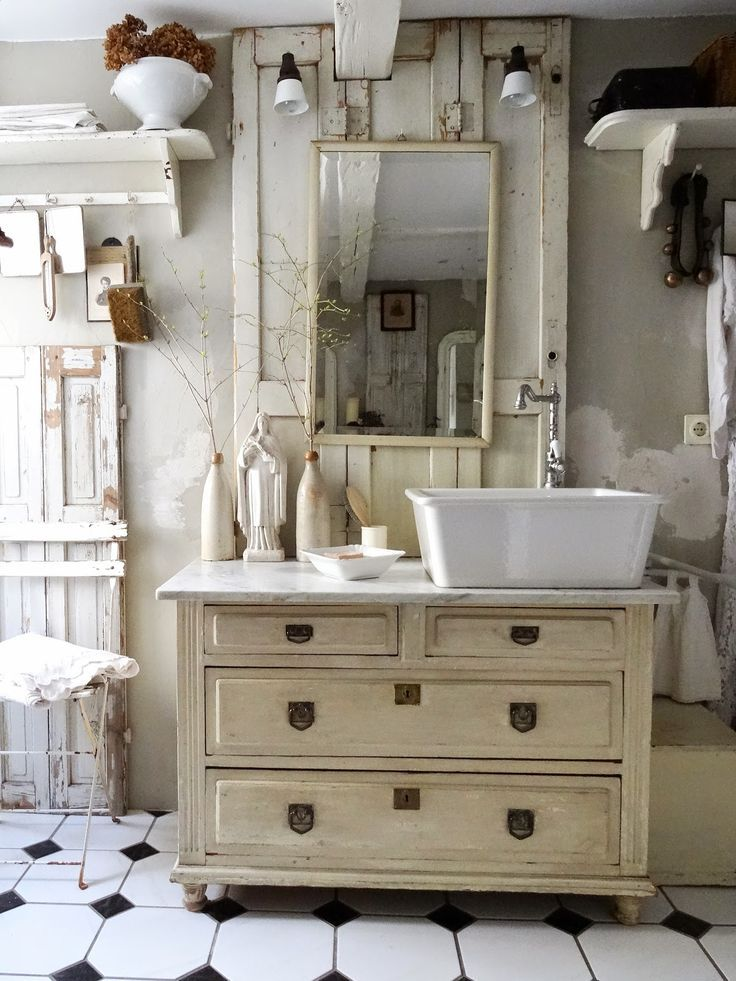 Badezimmer Integriertem Mit Schrank Vintage Waschbecken