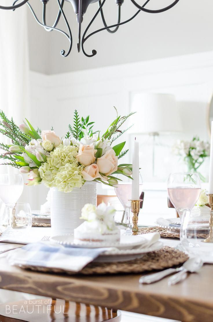 Roses Tulips And Hydrangeas Create The Perfect Centerpiece For This Simple Pink And Gold Spring Tablesc Spring Tablescapes Spring Home Decor Tulip Centerpiece