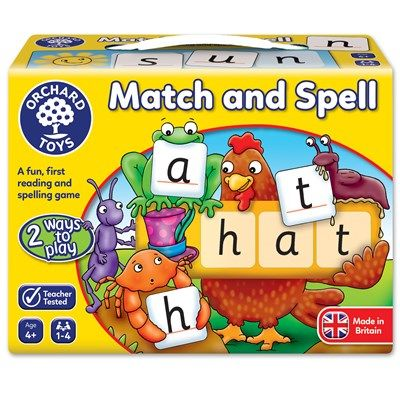 Award winning Orchard Toys Match and Spell encourages letter recognition, teaches phonetic word building and promotes matching of pictures and words, from simple words like 'cat' to more complex four letter words. There are two ways to play, and the game is designed for both guided and independent word building. http://buff.ly/2uyR2kP?utm_content=buffer151a5&utm_medium=social&utm_source=pinterest.com&utm_campaign=buffer