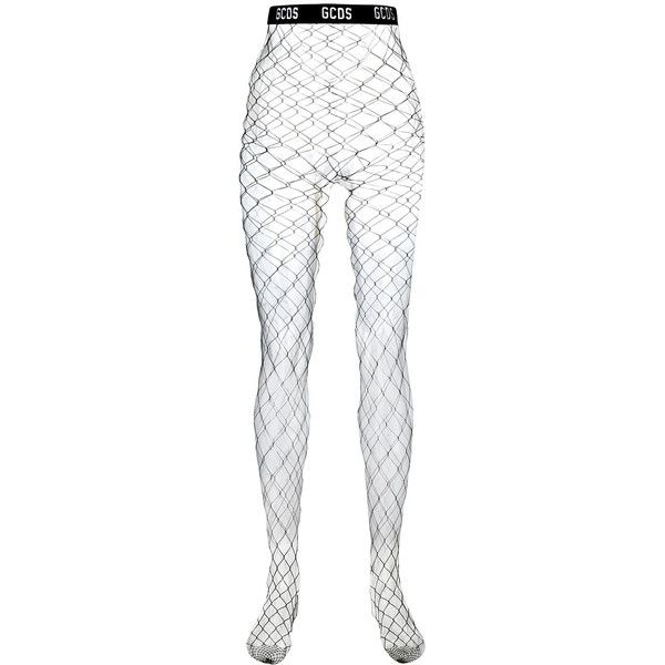 Gcds Logo Tights (1.187.220 VND) ❤ liked on Polyvore featuring intimates, hosiery, tights, black, net lingerie, lingerie pantyhose, net tights, lingerie tights and lingerie hosiery