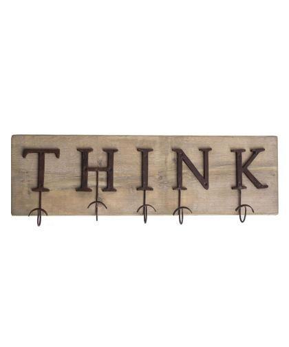 Appendiabiti Think, con ganci in ferro brunito e legno di recupero