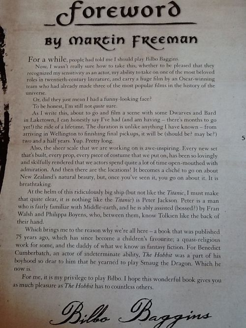 Foreword by Martin Freeman. He is just too adorable for words! He mentions Benedict too!! : )