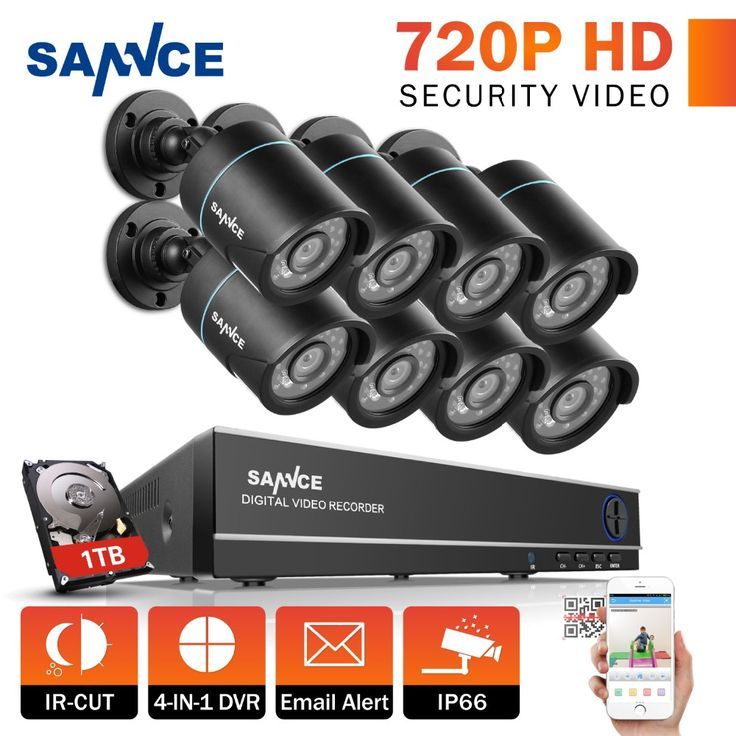 SANNCE 8CH CCTV Security System 1080N DVR 8pcs 720P TVL Weatherproof Outdoor CCTV Cameras 8 channels Video Surveillance kits 1TB #Affiliate