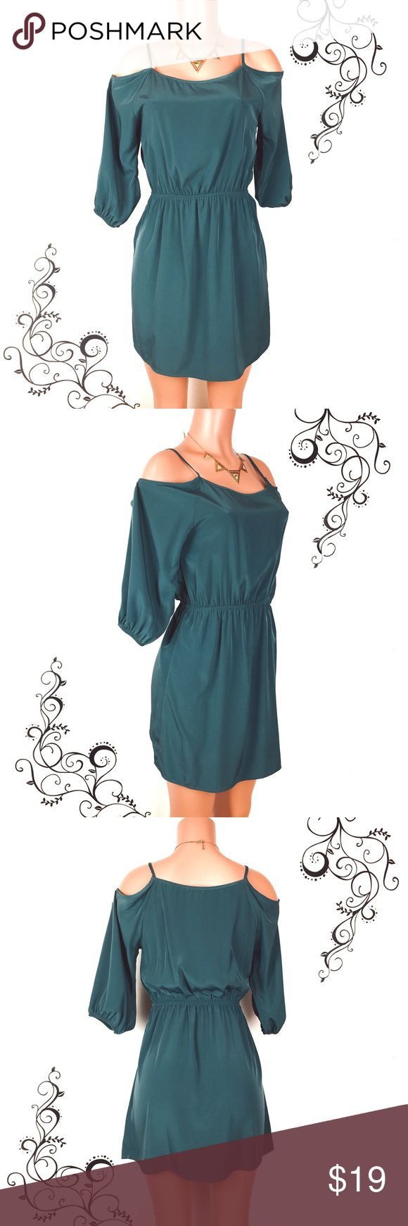 """EVERLY teal green cold shoulder summer dress Stylish cold shoulder teal green dress that's just perfect for summer.  Pair w a statement necklace and some cute sandals and you're looking good.  Flowy & smooth fabric with elastic waistband & sleeve band.    Condition: like new, no material flaws Size: Waist stretches from 13-19""""  Length: 34.5 inches (straps to hem) Fabric: polyester  🚫trade 🏷lowest price unless bundled Everly Dresses"""