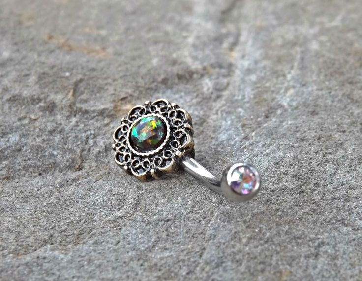 Tribal Green Opal Bronze Belly Button Navel Ring Body Jewelry Fits in Navel 14ga Cute Belly Ring