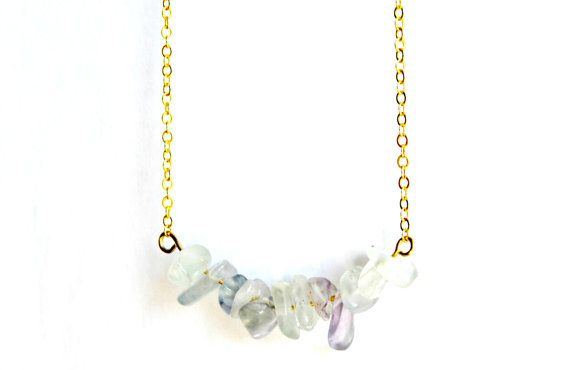 Fluorite Necklace Cluster Crystal Pendant Gold by IndigoLizard
